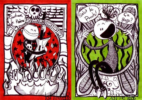 Cartes postales dans mite