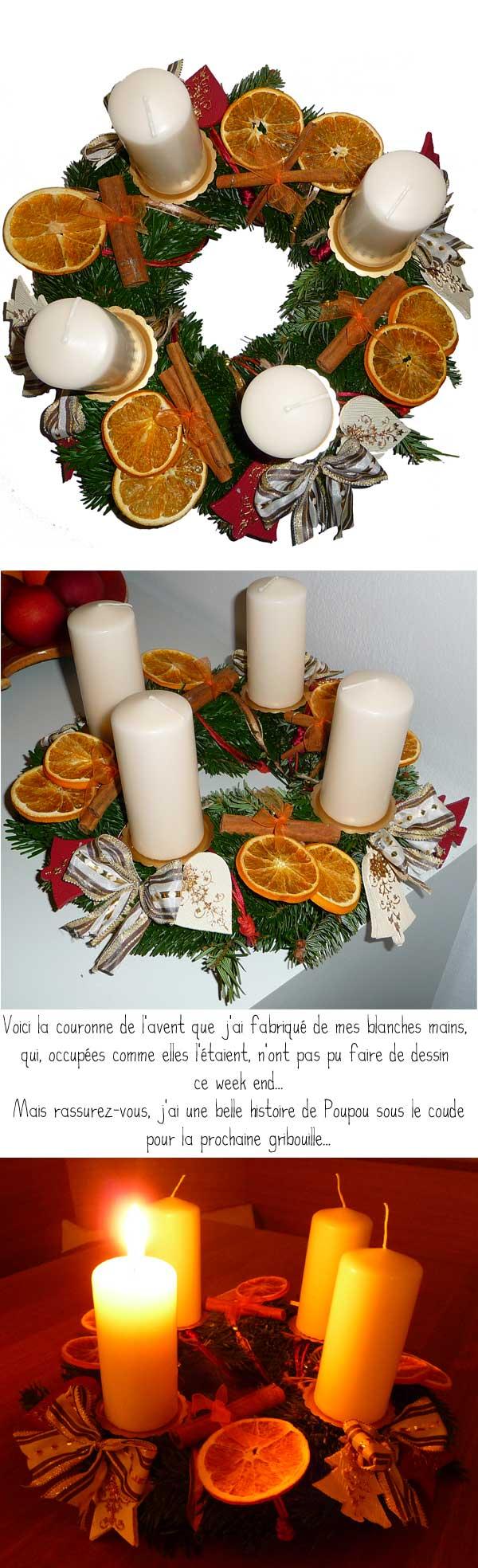 Advent, advent, ein Lichtlein brennt dans divers couronne